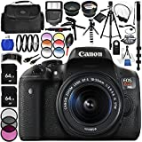 Canon EOS Rebel T6i DSLR Camera with 18-55mm Lens 24PC Accessory Bundle - Includes 0.43x Wide Angle Lens + 2x Telephoto Lens + 3 Piece Filter Kit (UV + CPL + FLD) + MORE