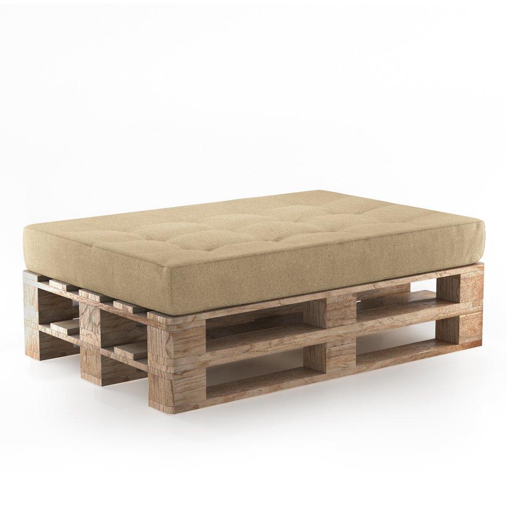 Palettenkissen Palettenmöbel Sitzkissen 120x80x15 cm inkl. Europalette Palettensofa Palettenpolster Kissen Sofa Polster Indoor Outdoor Beige