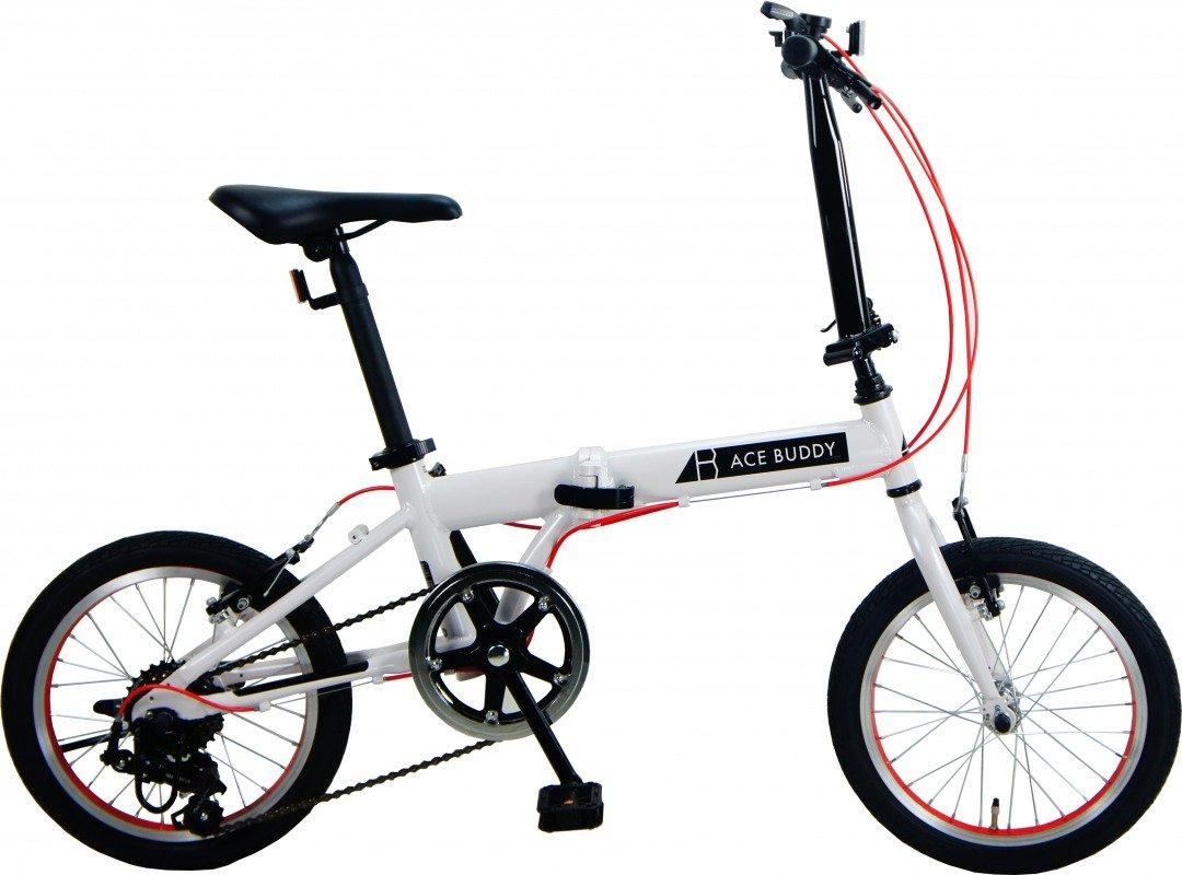 ACE BUDDY 166AL-1 アルミ 折りたたみ自転車 16インチ SHIMANO6段変速 B078G9GPFH ホワイト ホワイト