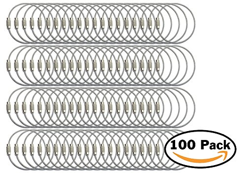 Stainless Steel Wire Luggage Strap 1.5mm 6 Inch Aircraft Cable Key Ring Loops for Hanging Luggage Tags or ID Tags (100 pack, PVC Coated Steel) by Bespoke Tags