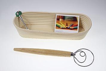 obeauty 13 inch original danés masa batidor de mano/mezclador con cesta de levar masas rectangular cesta de pan (un conjunto total 310 G 35,66 cm: ...