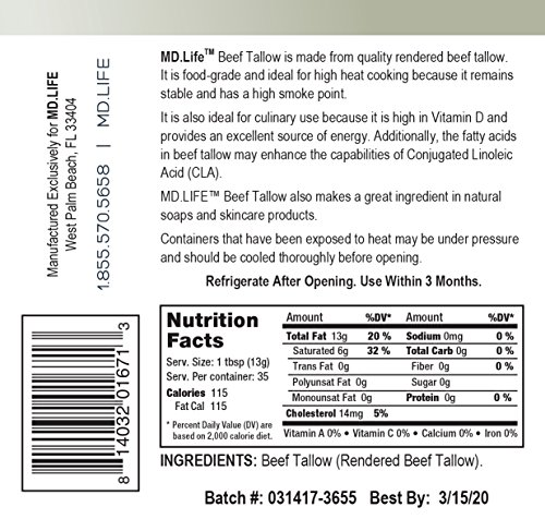 Save $$ MD.LIFE Beef Tallow 1 Gallon 4-32 Oz Tubs - Compare to Beef Tallow, Grass-Fed, Kettle Rendered and Fine Filtered, by MD.LIFE (Image #3)