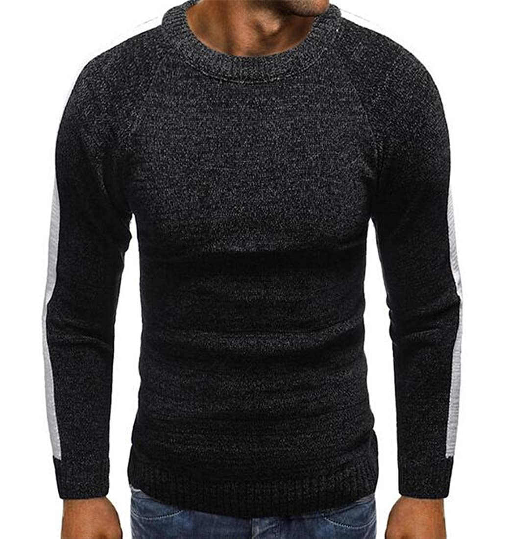 UUYUK Men Fashion Long Sleeve Contrast Color O-Neck Ribbed Kintted Pullover Sweater