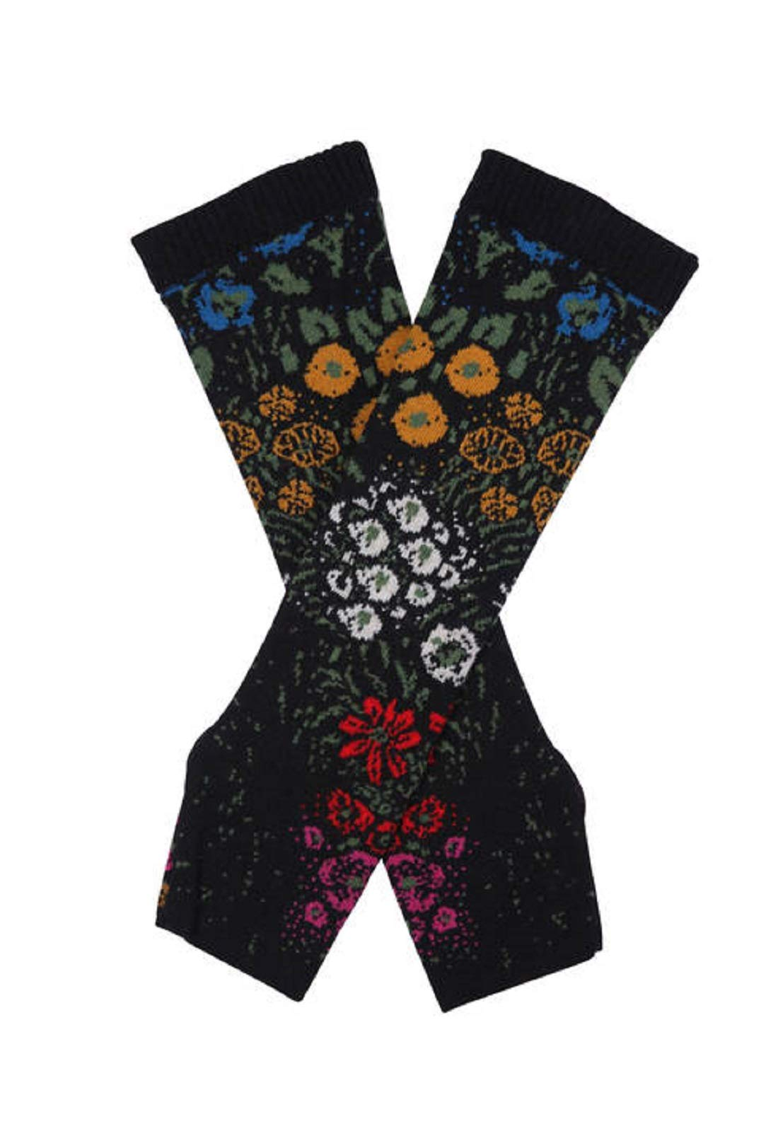 IVKO Impression Collection Floral Pattern Wrist Warmers in Black Fine Merino Wool Gloves Pullwarmers by IVKO