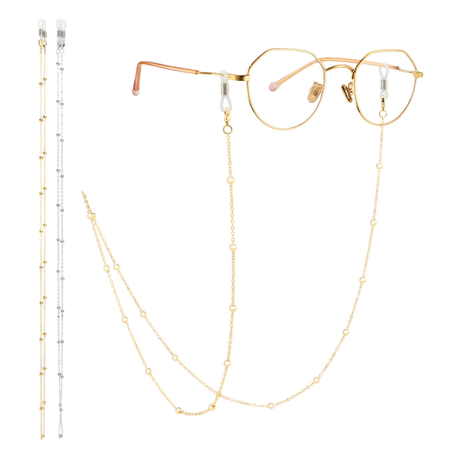 Eyeglass Chain, Segarty 2 Pack Beaded Glasses Cord Sunglasses Lanyard Retainer Strap for Women, Secure Fit For Your Glasses And Eyewear, Gold and Silver