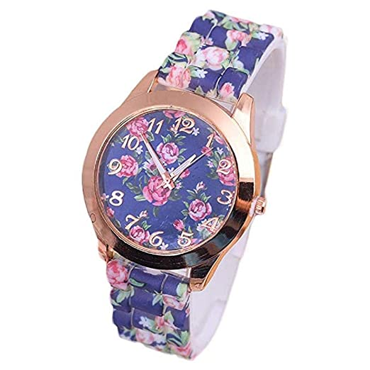 Scpink Womens Flowers Relojes Liquidación Quartz Mujer Relojes PU Leather Lady Relojes (Azul)
