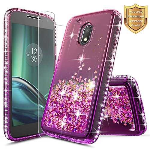 NageBee Moto G4 Play/Moto G Play Case w/[Tempered Glass Screen Protector], Glitter Liquid Quicksand Waterfall Flowing Sparkle Shiny Diamond Girls Cute Case for Moto G Play 4th Gen -Pink/Purple