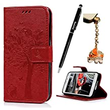 S5 Case,Samsung Galaxy S5 Case (G900) - Wallet Embossed Flower Tree PU Leather Soft TPU Inner Cover with Magnetic Clip & ID/Credit Card Holders Stylus Pen & Dust Plug by Badalink - Red