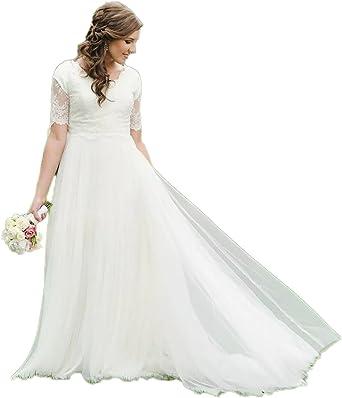 Automan A-Line Lace Tulle Beach Modest Wedding Dresses Garden Bridal Gowns  Plus Size