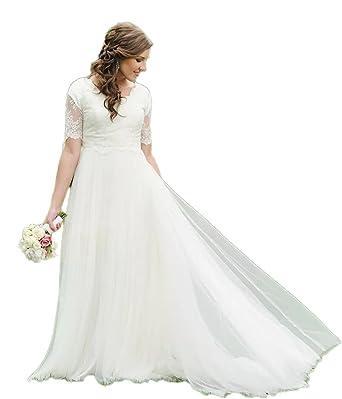 Automan A-Line Lace Tulle Beach Modest Wedding Dresses Garden Bridal ...