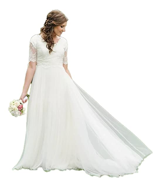 Automan A-Line Lace Tulle Beach Modest Wedding Dresses Garden Bridal Gowns  Plus Size
