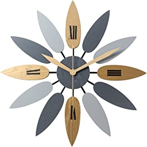 PeleusTech Large Art Wall Clock Leaf Large Wall Clock Silent Wall Clock for Decorative Living Room - 20Inch/52cm