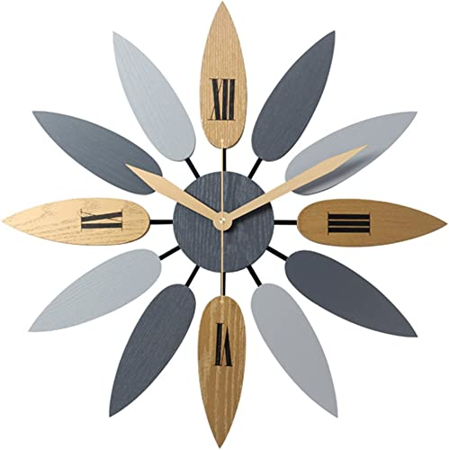 PeleusTech Large Art Wall Clock Leaf Large Wall Clock Silent Wall Clock