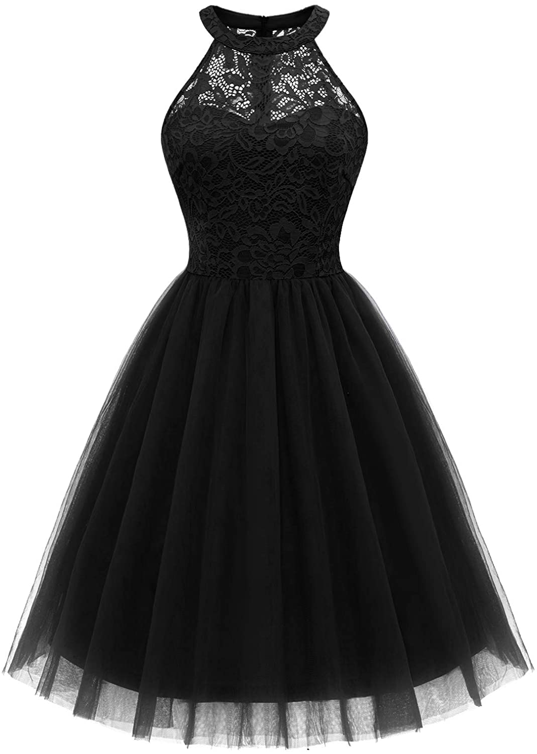 Dressystar Women's Short Halter Cocktail Party Dress Lace Tulle Prom Gown