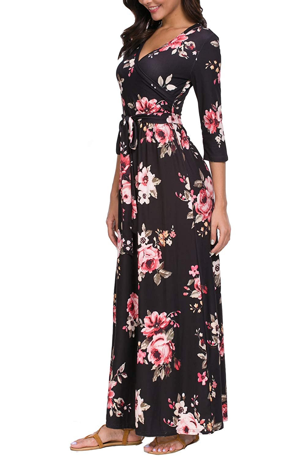 49663d6fe0a6 Zattcas Womens 3/4 Sleeve Floral Print Faux Wrap Long Maxi Dress with Belt  at Amazon Women's Clothing store: