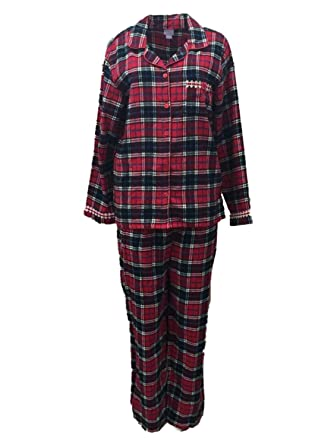 Laura Scott Womens Red Plaid Flannel Pajamas PJs Sleep Set at ...