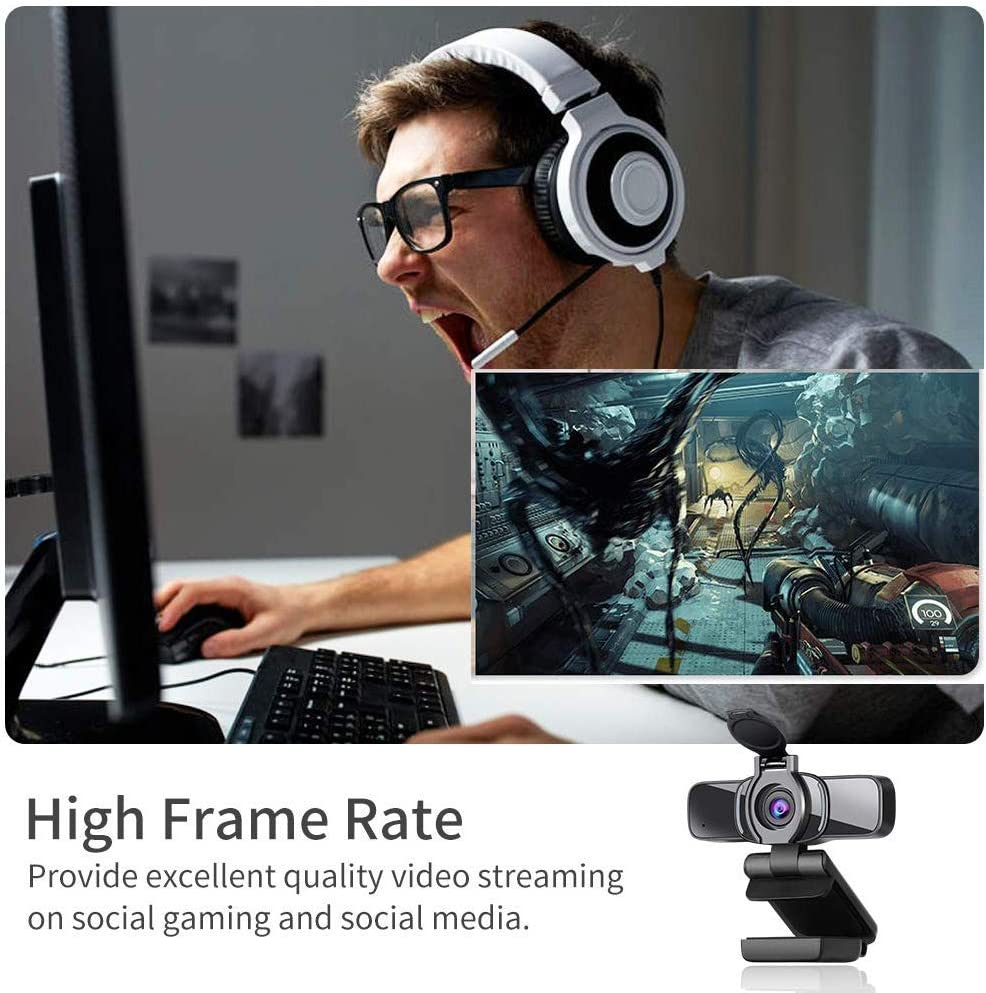 Seagullsfly Ultra HD 1080P Webcam Calling and Conferencing Gaming USB PC Webcam with microphone Built-in Mic and Webcam Cover Gaming Computer Camera for Live Streaming
