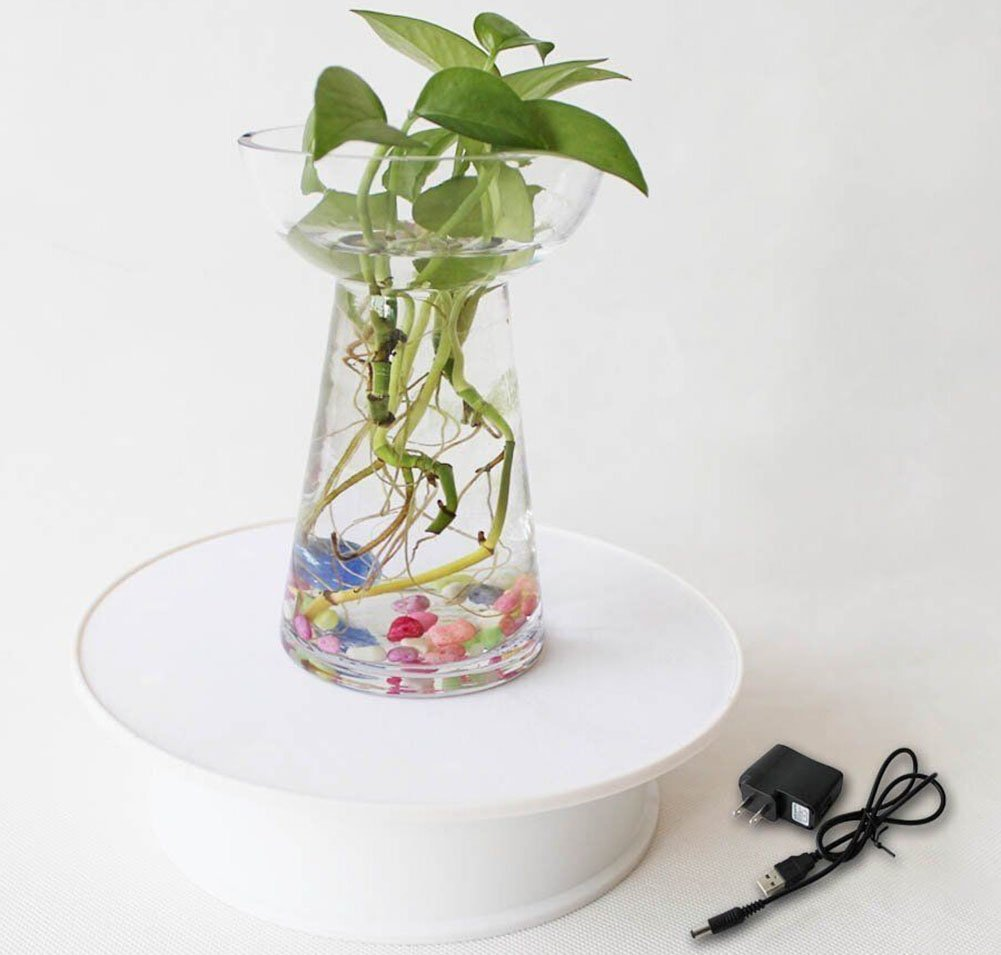 White Electric Motorized Rotating Turntable Display Stand 20cm Diameter 1.5kg Centric Loading