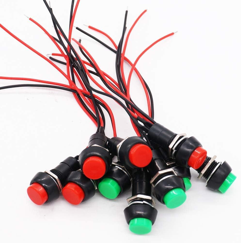 RUNCCI-YUN 12mm interruttore pulsante momentaneo,interruttore a pressione,interruttore on off,spst pulsante,interruttore pulsante rotondo,AC 6 A//125 V 3 A//250 V(Con linea)