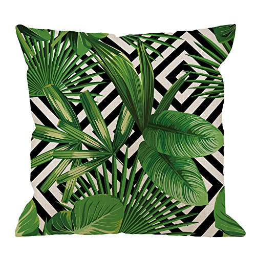 - HGOD DESIGNS Palm Pillow Case, Summer Exotic Jungle Plant Tropical Palm Leaves on The Geometric Cotton Linen Cushion Cover Square Standard Home Decorative Throw Pillow 18x18 inch White Black Green