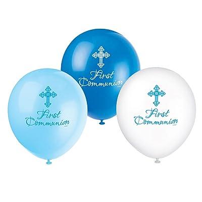 Unique Party 30,5cm Latex Radiant Cross Bleu première communion Ballons, Lot de 8