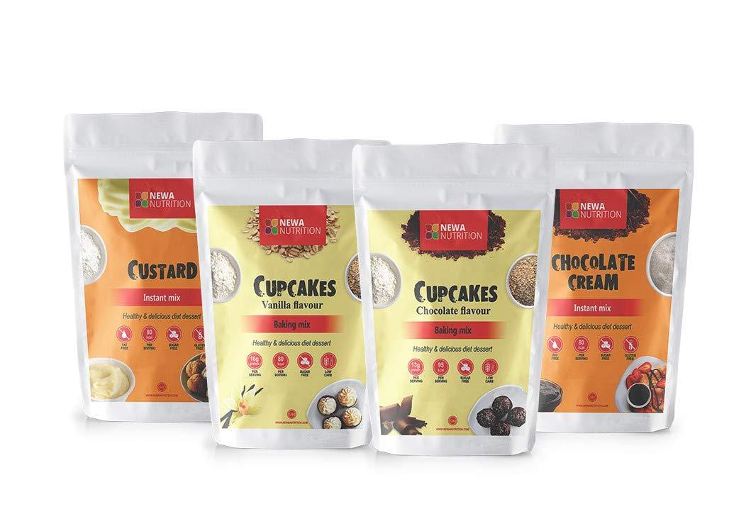 Newa Nutrition Cupcake, Cream Mix and Custard- Plus Unique Fridge Magnet for FREE- Vanilla and Chocolate cupcakes with Chocolate cream and Custard (Pack of 4)