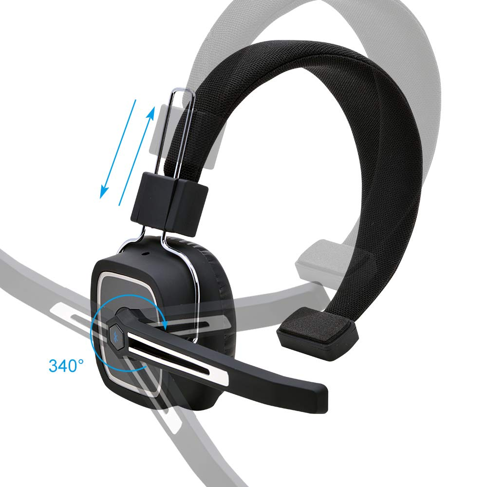 Truck Driver Bluetooth Headset//Office Headset Skype Wireless Over The Head Headset with Extra Boom Noise Reduction Mic for Phones,Call Center VoIP