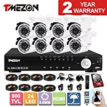 TMEZON 16CH CCTV Security DVR HDMI Output (support 4ch 960H) with 8x 800TVL Hi-Resolution Weatherproof Out/Indoor Security Surveillance Cameras P2P Smartphone Quick View 1TB HDD