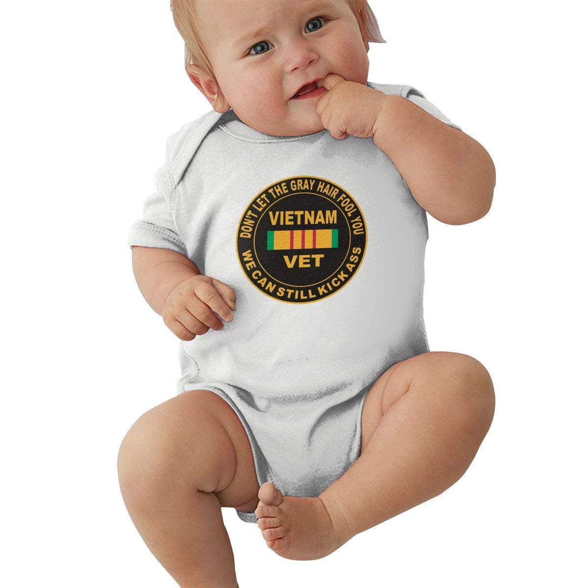 Dfenere Gray Let The Gray Hair Fool You Hip Hop Newborn Baby Short Sleeve Bodysuit Romper Infant Summer Clothing Black