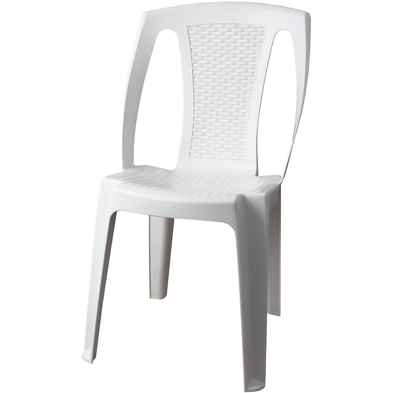 Set di mobili da giardino tavolo da giardino plastica bianco effetto legno 78 x 78 cm 4 X SEDIA IMPILABILE PROCIDA Plastica Bianco effetto rattan