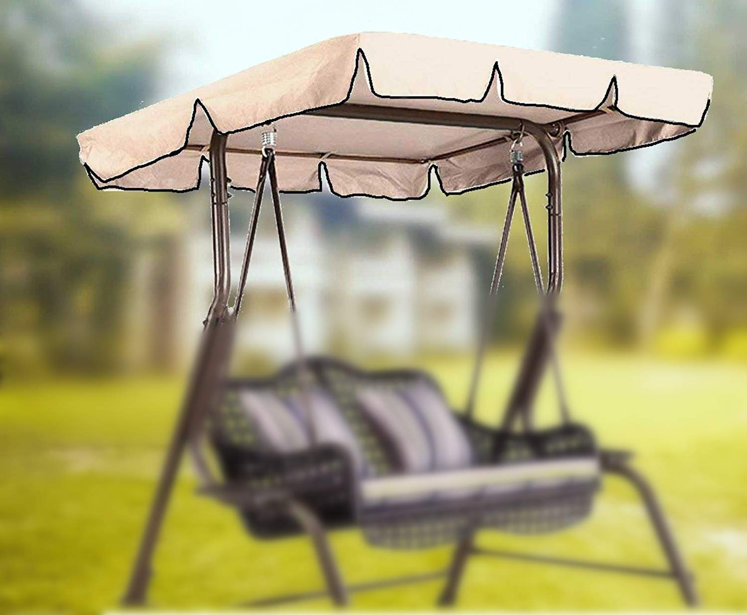 boyspringg Patio Outdoor Swing Canopy Replacement Porch Top Cover Waterproof UV Block Sun Shade Porch Swing Chair Garden Hammock Patio Furniture Cover (Beige 76x49x5.9 inch) by boyspringg