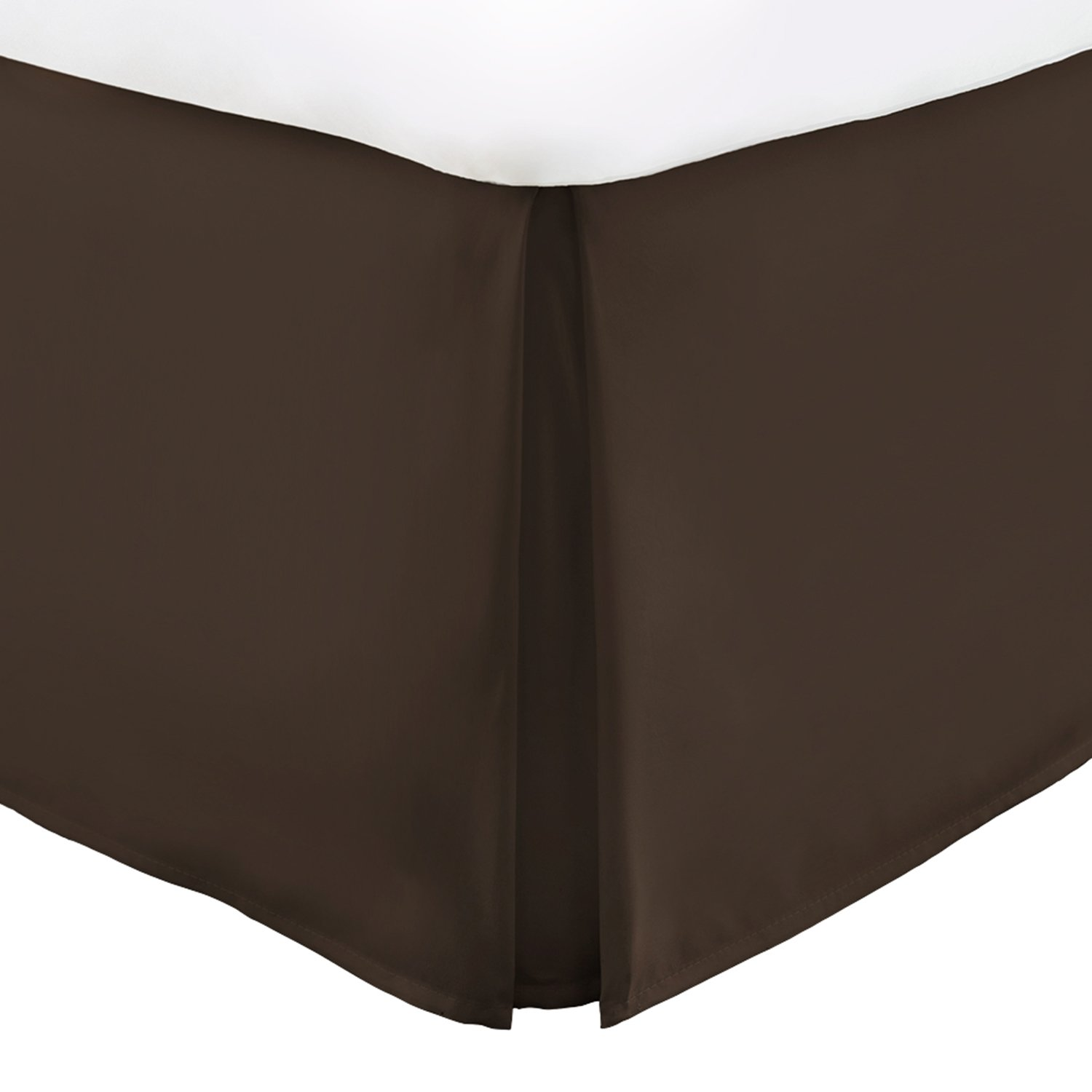 Italian Luxury Hotel Collection Bed Skirt with 15-inch Drop - Double Brushed Microfiber Pleated Dust Ruffle -Chocolate - King