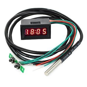 LED pantalla digital automático reloj/medidor de voltaje/termómetro coche multímetro con 1,