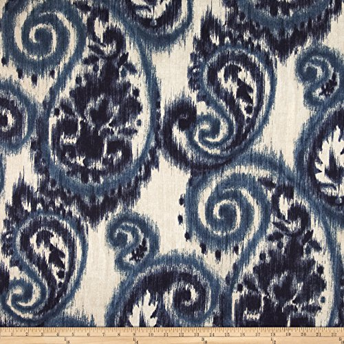 Richloom Fabrics 0345588 Richloom Solarium Outdoor Sorista Paisley Indigo Fabric by the Yard (Blue Ikat Fabric Outdoor)
