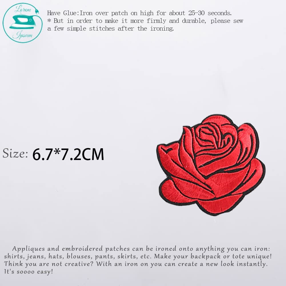 XUNHUI 8 pcs Colorful Mixed Rose Flower Patches iron on or Sew for Clothes Embroidered Appliques DIY Accessory Bag Badge