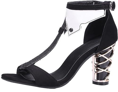 af0d72a80d55 Calaier Womens Catxin Round-Toe 8CM Block Heel Buckle Sandals Shoes