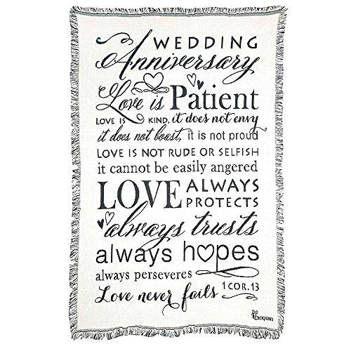 Wedding Anniversary 1 Corinthians 13 White 48 x 68 All Cotton Tapestry Throw Blanket
