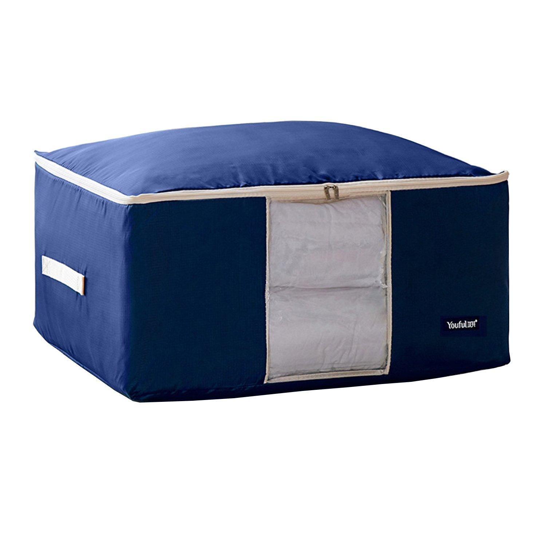 Oululu Oxford Storage Bag for Quilt Blanket Clothes Comforter (Dark Blue, XXL)