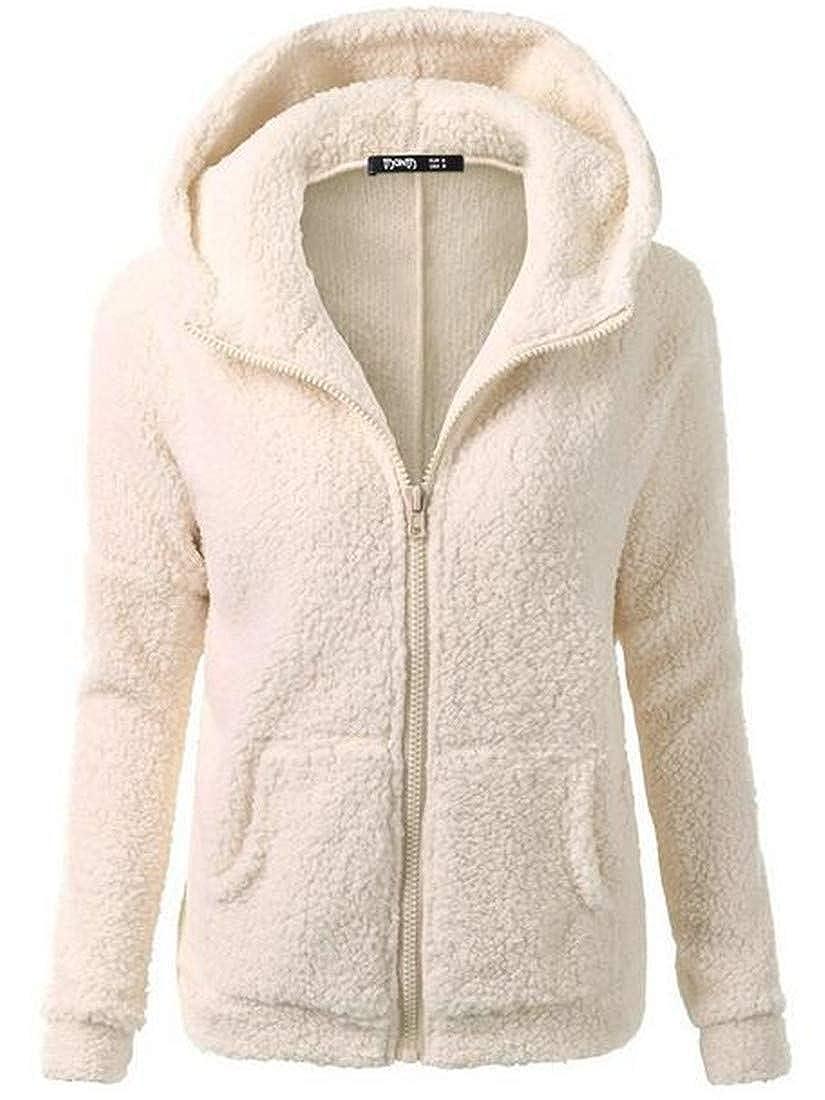 BU2H Women Hipster Zipper Warm Solid Relaxed Fit Hoodie Sweatshirt Outwear