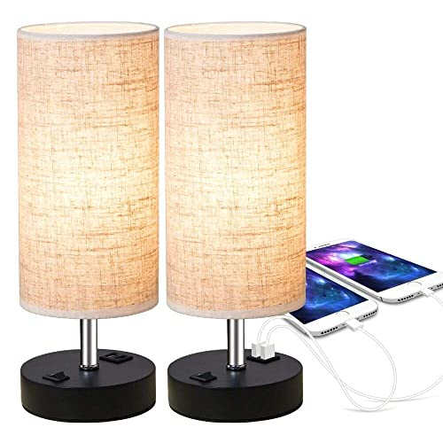 ZEEFO Dual 2.1A USB Charging Port Bedside Table Lamp with Press Switch, Black Base Modern Minimalist Design Desk Lamp Very Convenient Nightstand Lamp to Decor Your Bedroom, Guest Room Set of 2