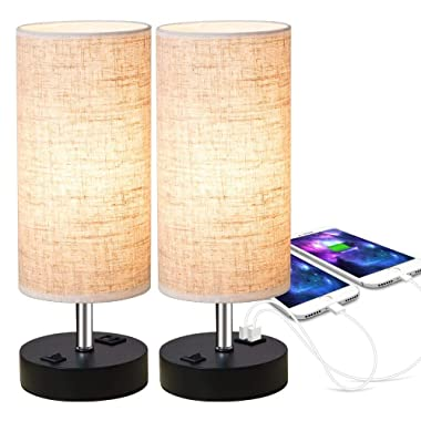 ZEEFO Dual 2.1A USB Charging Port Bedside Table Lamp with Press Switch, Black Base Modern Minimalist Design Desk Lamp Very Convenient Nightstand Lamp to Decor Your Bedroom, Guest Room (Set of 2)