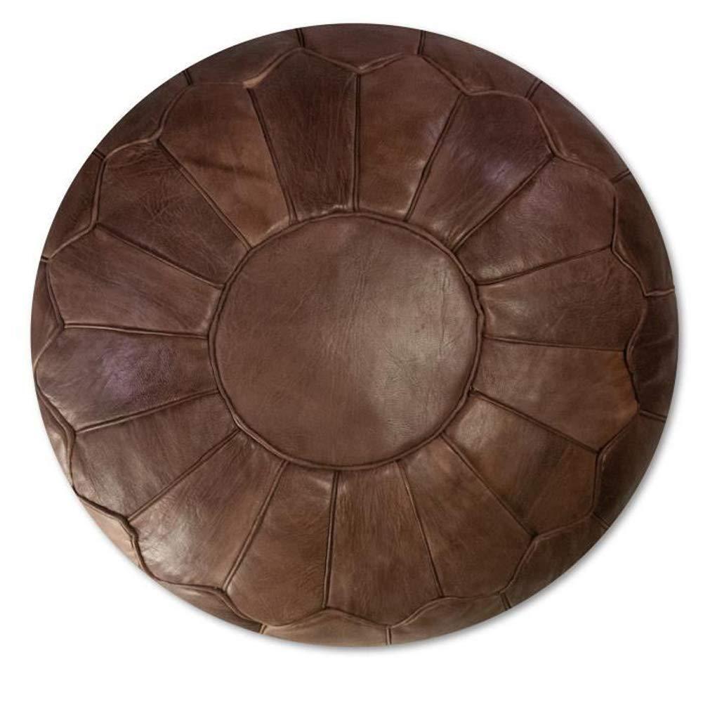 bohemiamarrakech Leather Pouf Ottoman Leathe poufr Moroccan Pouf Leather Original Leather Pouf Ottoman Pouf Morrocan Leather Pouf Brown Darker - UNSTFED by bohemiamarrakech