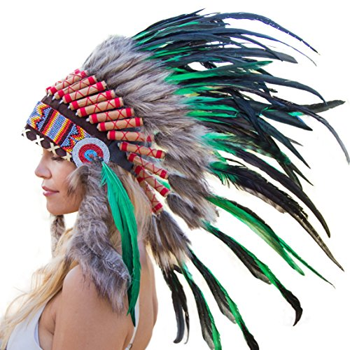 Novum Crafts Feather Headdress | Native American Indian Inspired | Dark Green (Halloween Costumes International Shipping)