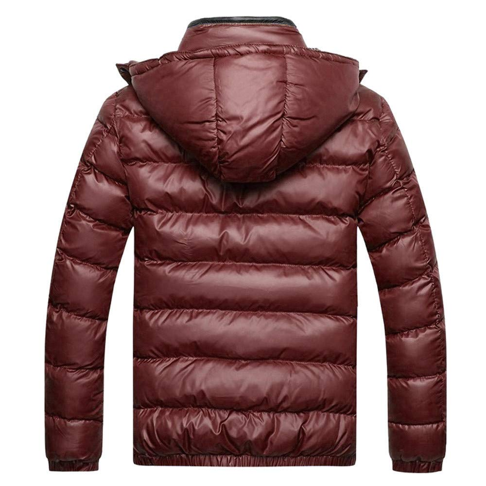 b5826161f WOCACHI Mens Down Jackets Puffer Coat Detachable Hooded Thicken Outwear  Overcoat