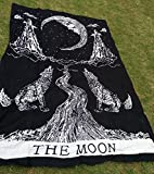 Crying Wolf of The Moon Tapestry wall hanging Bohemian Bed Sheet Indian ...
