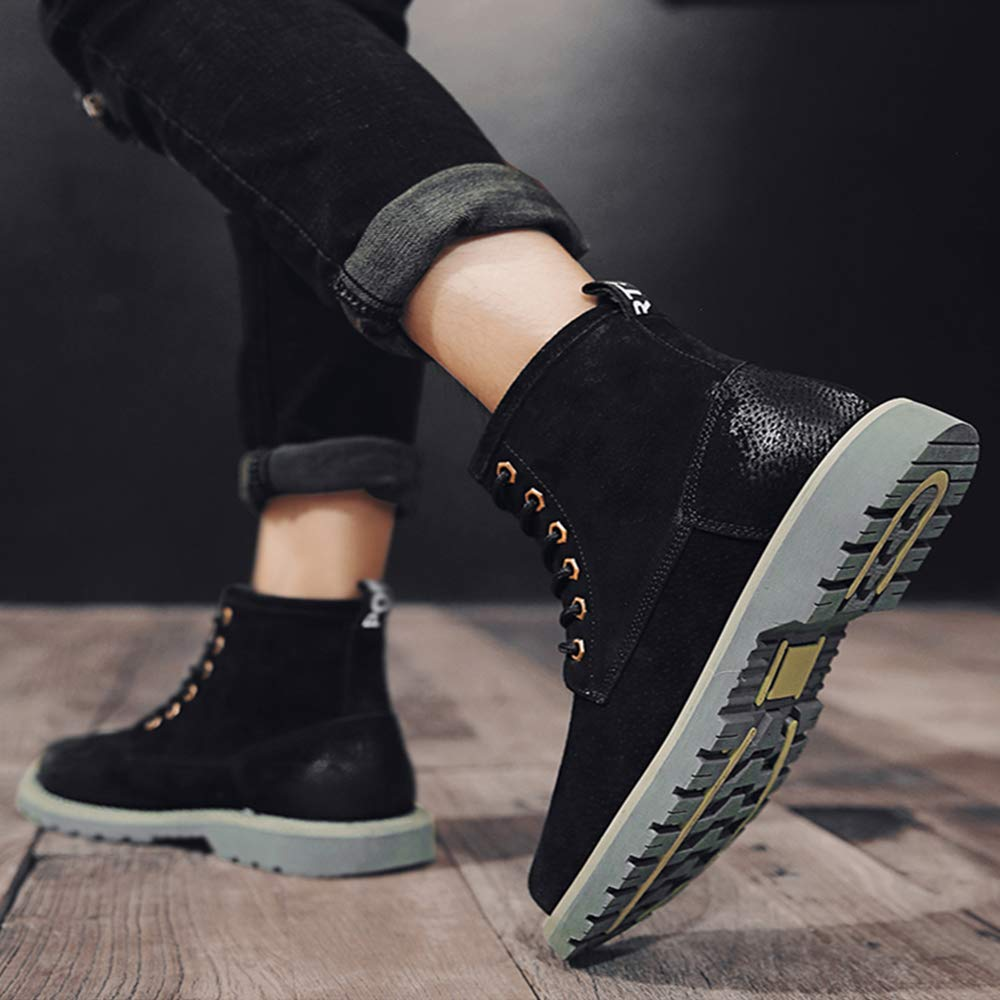 Lydee Fashion Men Shoes Combat Boots Lace Up Winter Shoes Casual Work Shoes High Top Chukka Boots Black Size 38