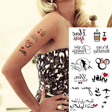 Handaxian 5pcs Tatuaje Pegatina Palabra Latido corazón Ruso ...