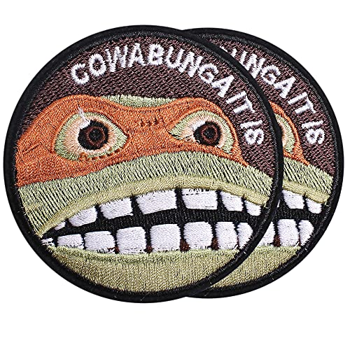 Harsgs Cowabunga It is Patch Embroidered Applique Badge Iron on /Sew on Patches Emblem Patch DIY Accessories, Perfect for Clothes, Dress, Hat, Jeans, Pack of 2