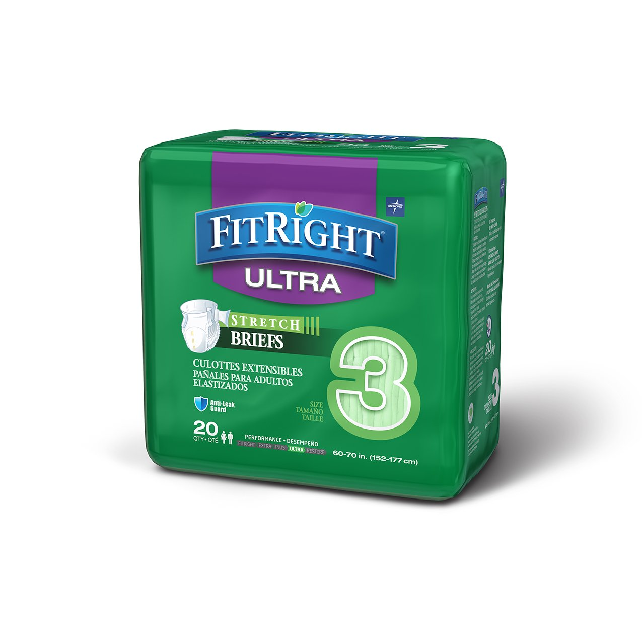 Medline Fitright Stretch Ultra Brief, X-Large/XX-Large, 4 packs of 20 (80 total)