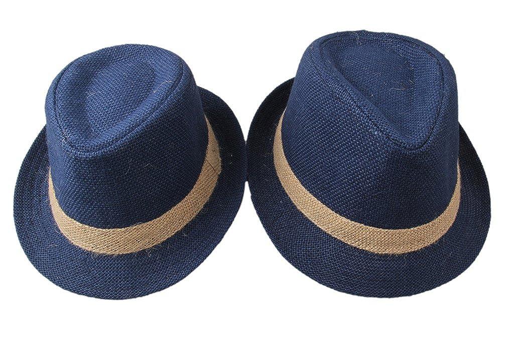 Dantiya Parent/&Child 2 Pcs Band Straw Fedoras Causl Sun Hat for Vacation